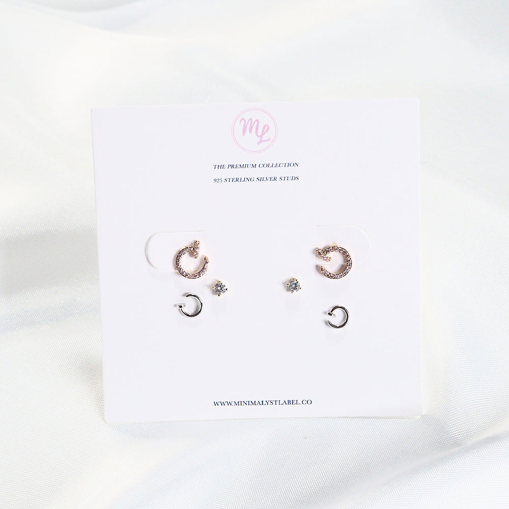 [SET OF 3] The Gora Studded Earrings (925 Silver Stud)