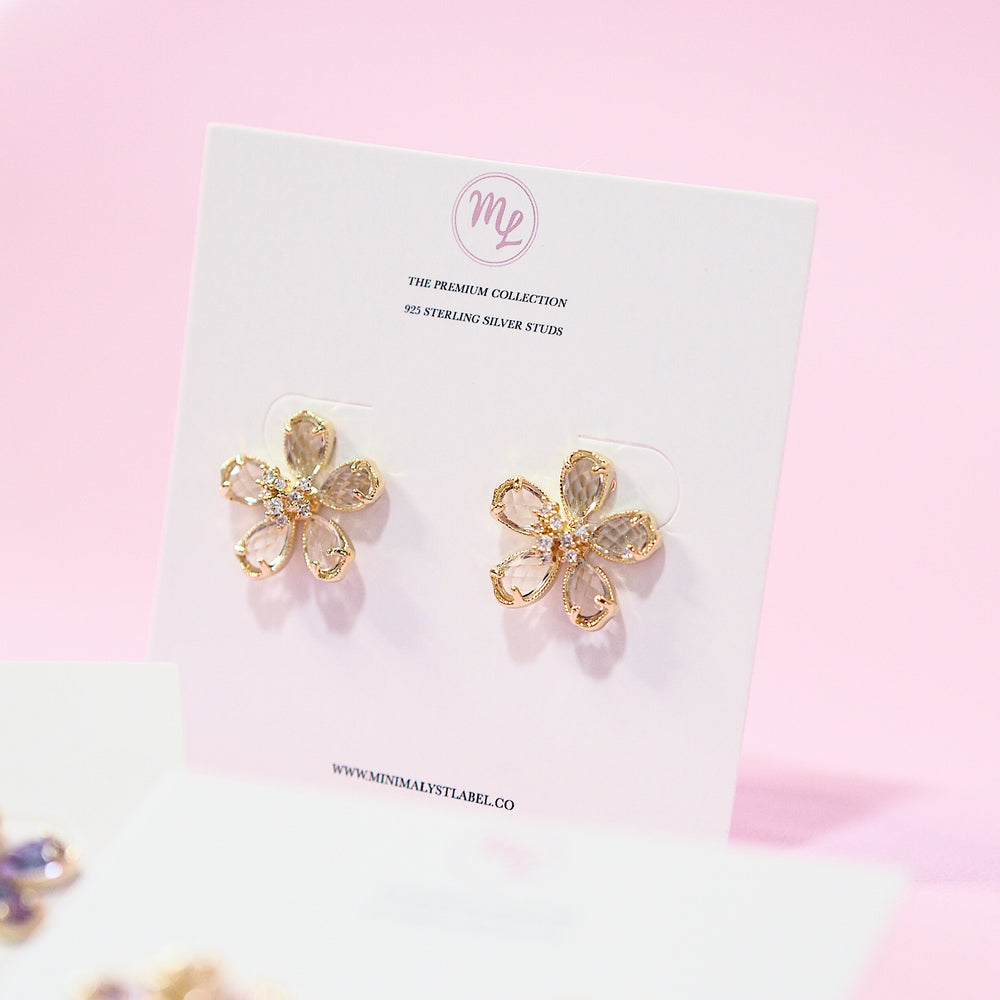 Icarius Floral Earrings [studded] (925 Silver Stud)