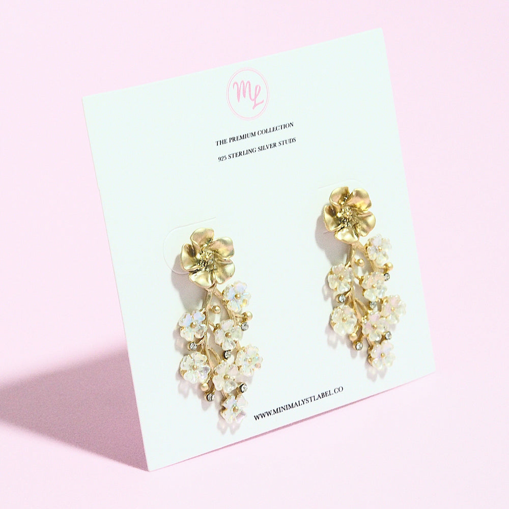 Cicely Floral Earrings (925 Silver Stud)