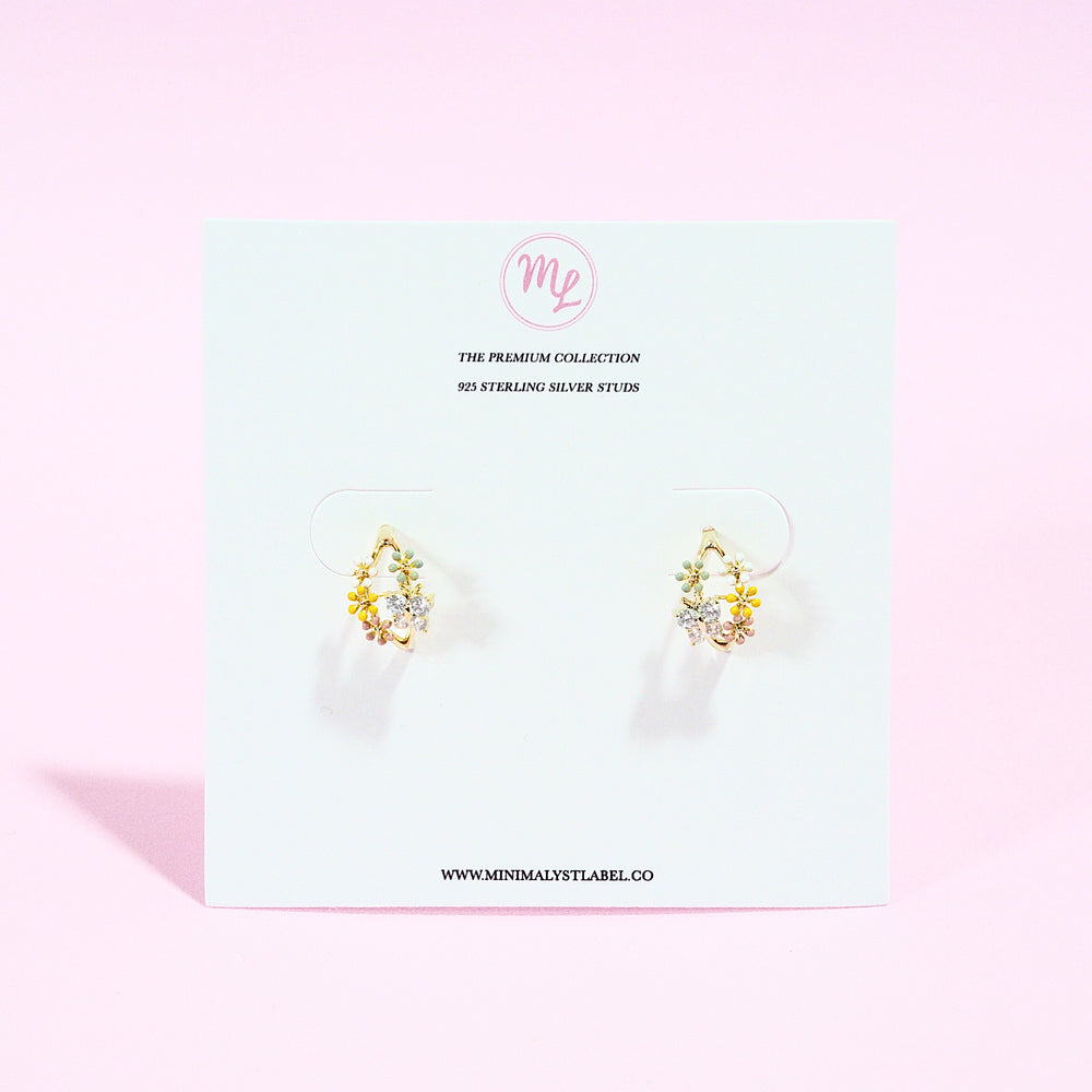 Elm Floral Studded Earrings (925 Silver Stud)