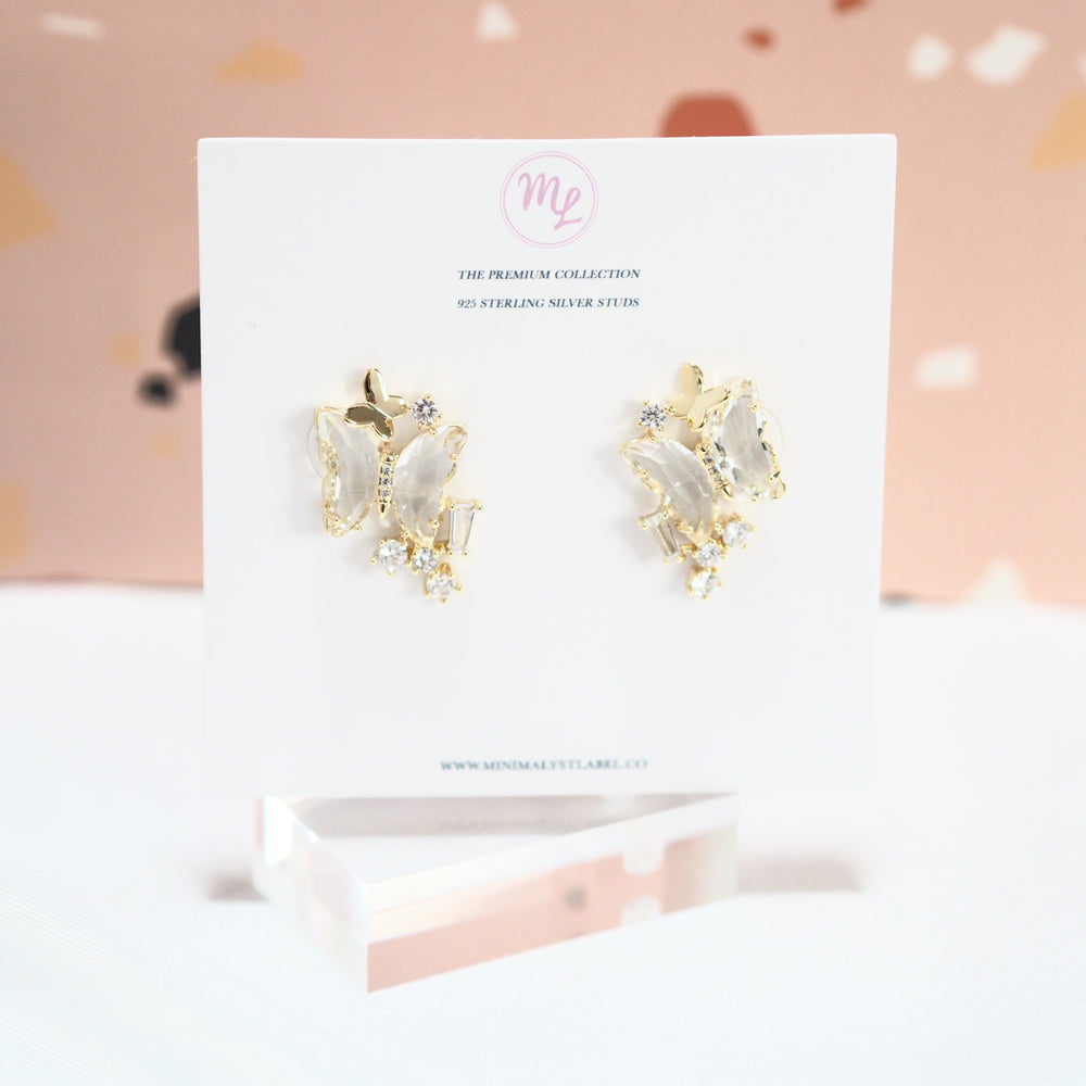 Icarius Butterfly Earrings [studded ver.] (925 Silver Stud)
