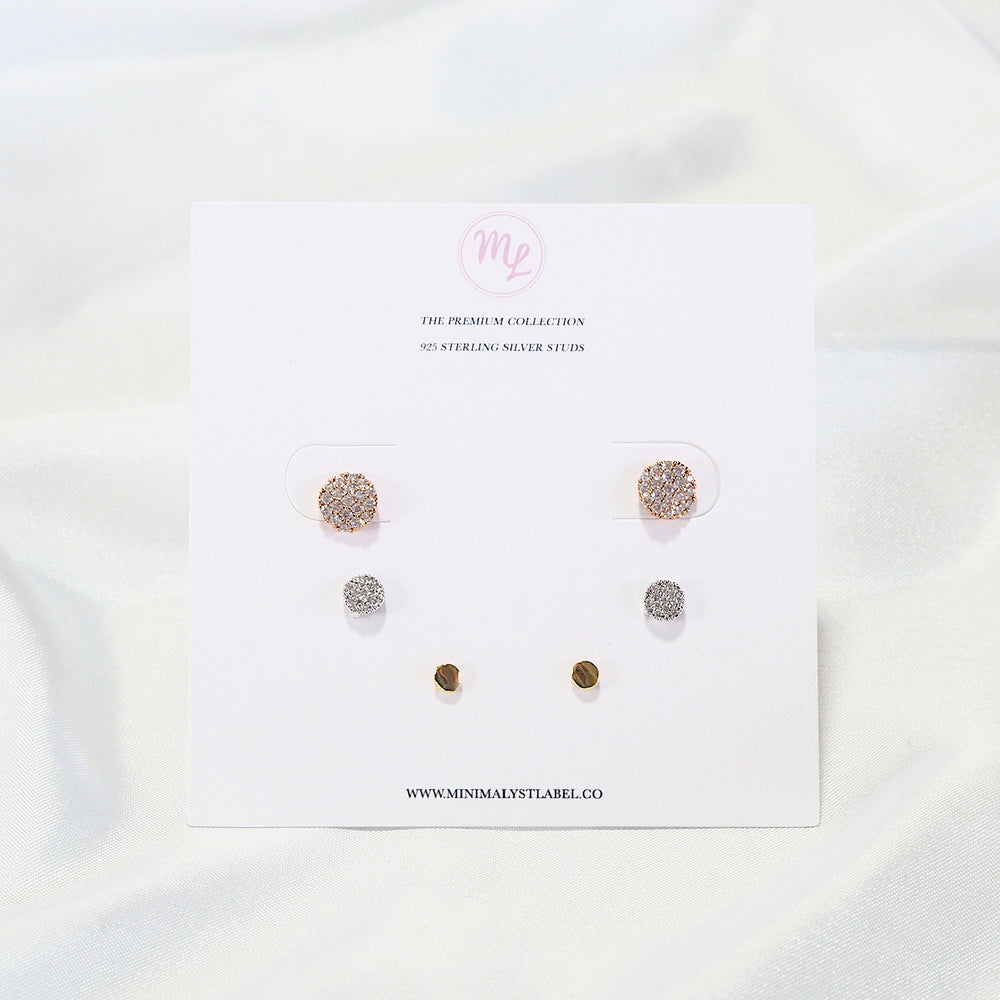 [SET OF 3] The Becca Studded Earrings [mixed] (925 Silver Stud)