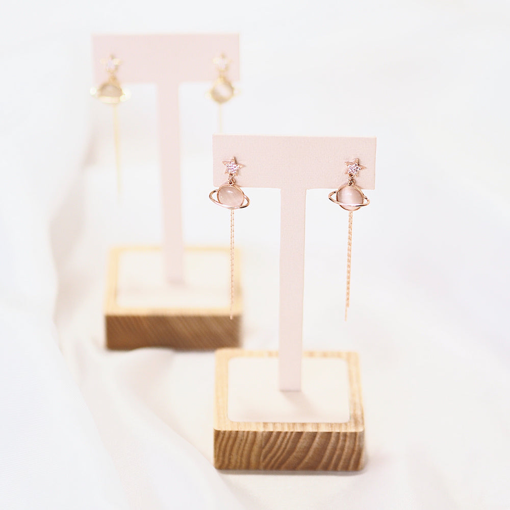 Verta Planet Drop Earrings (925 Silver Stud)