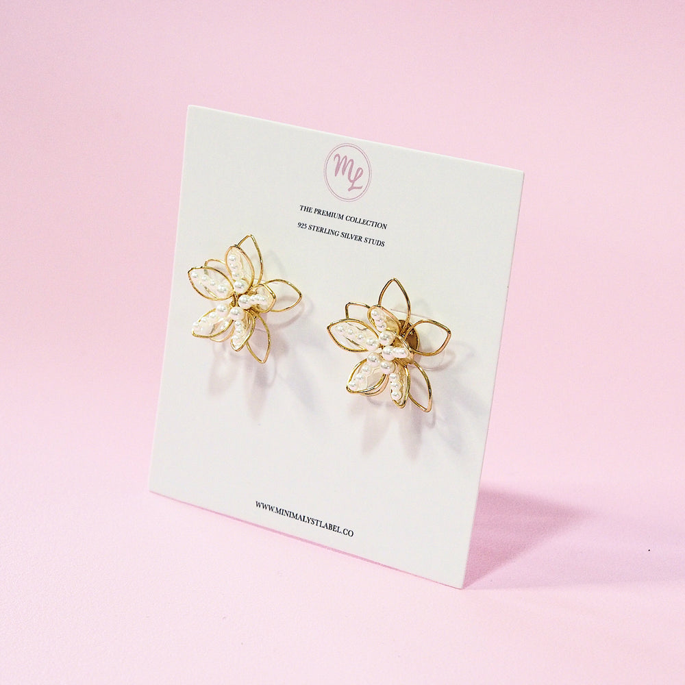 Ayana Studded Floral Earrings (925 Silver Stud)