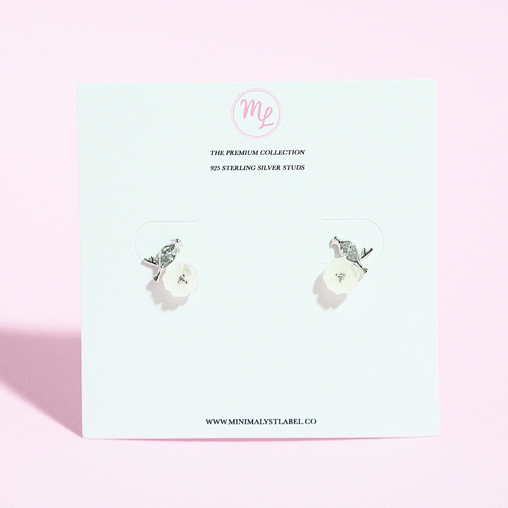 Clematis Floral Des Earrings (925 Silver Stud)