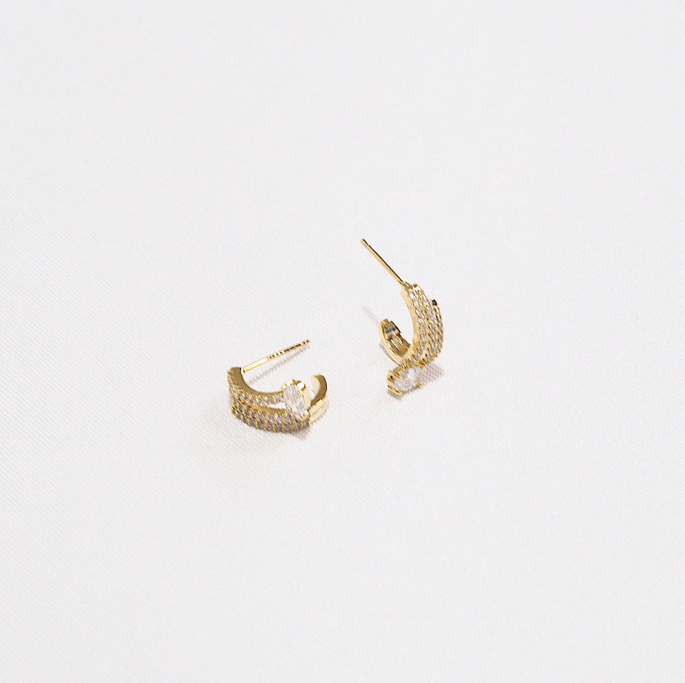 Aria Semi Hoop Earrings (925 Silver Stud)