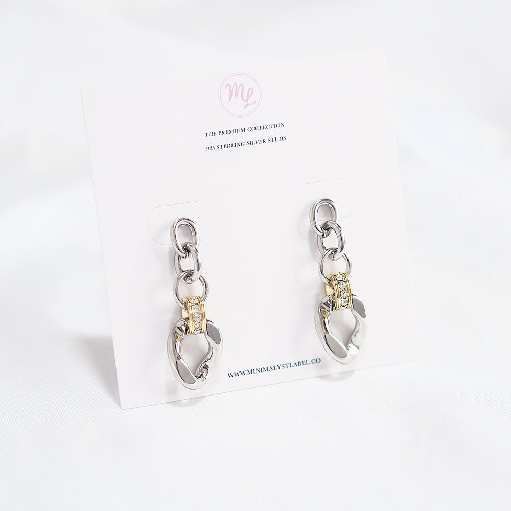 Clyde Chain Earrings (925 Silver Stud)