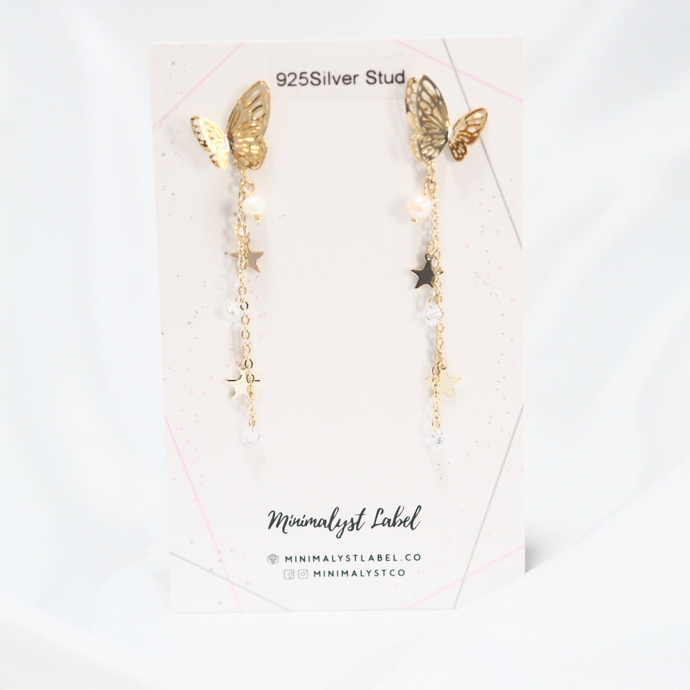 Melanargia Butterfly Drop Earrings (925 Silver Stud)