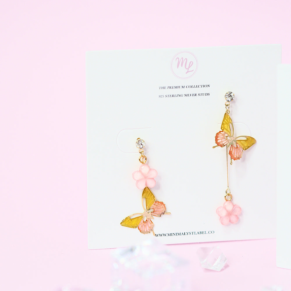 Megara Asymmetrical Butterfly Earrings (925 Silver Stud)