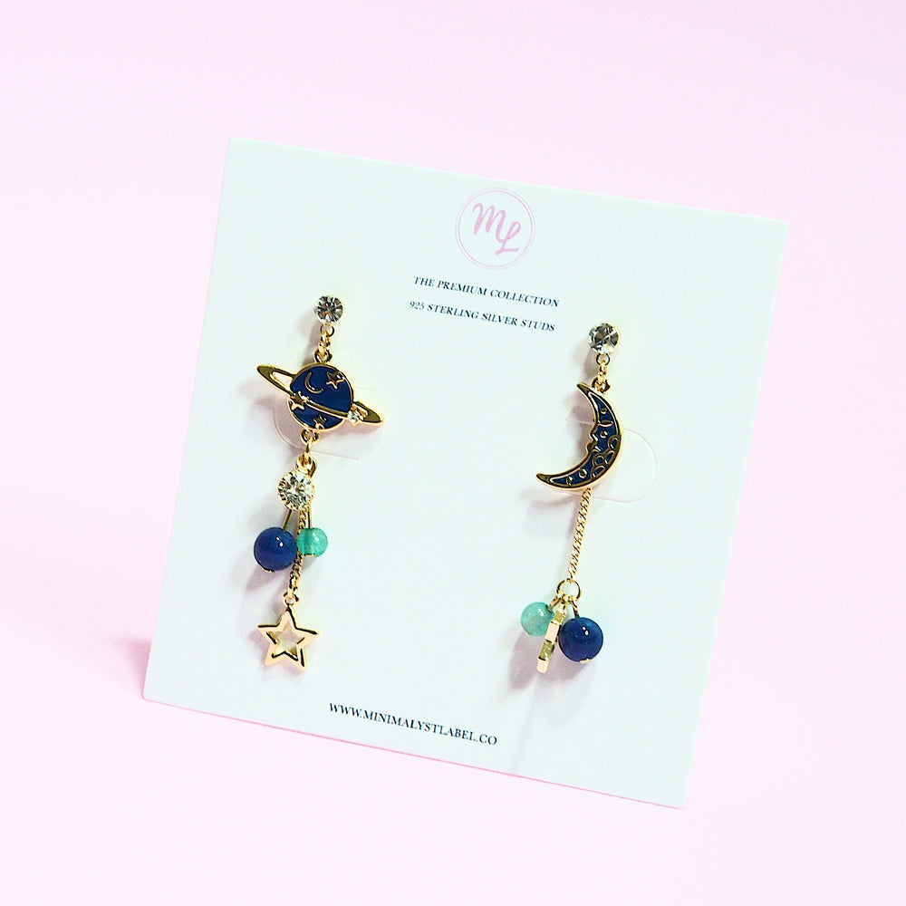 Uranus and Crescent Earrings (925 Silver Stud)
