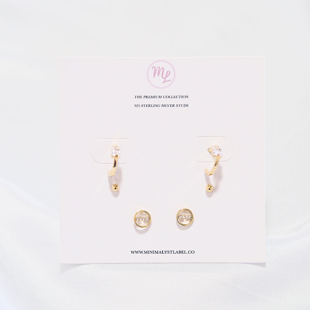 [SET OF 3] Poe Hoop and Studded Earrings (925 Silver Stud)