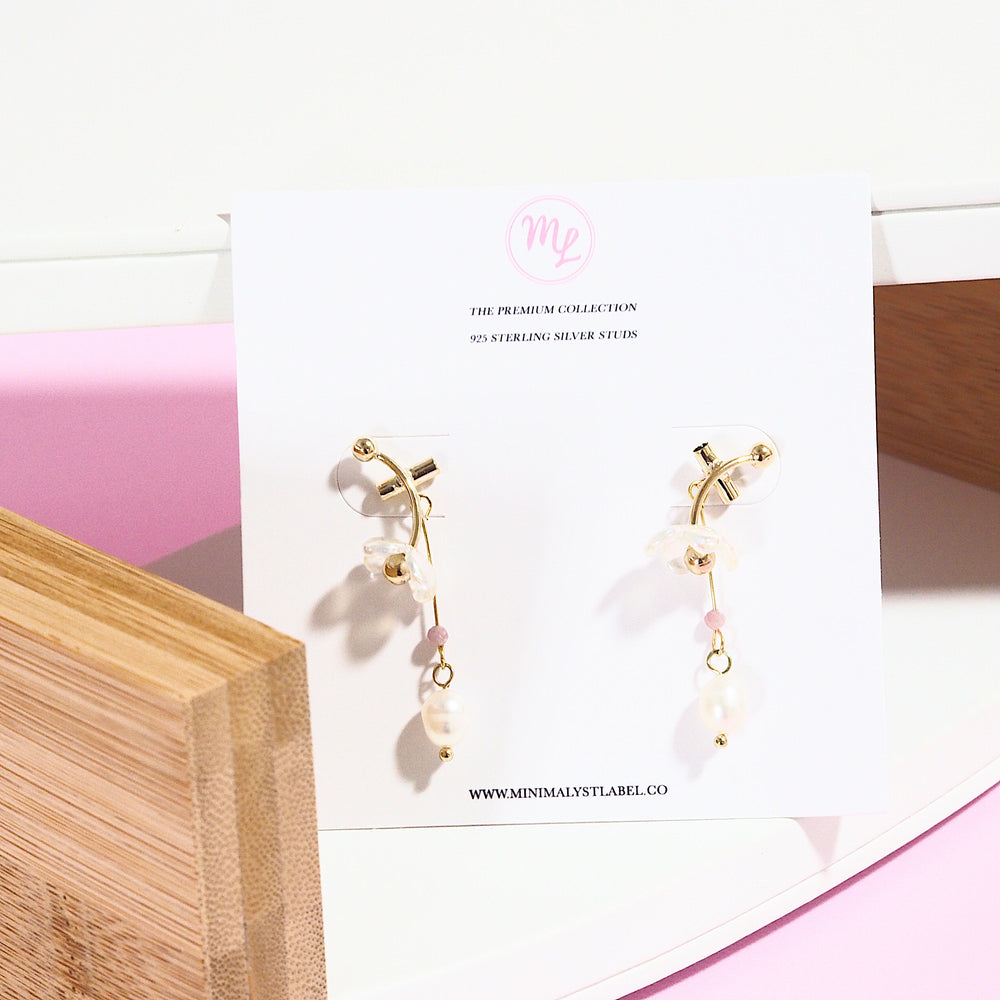 Cordillia Floral Drop Earrings (925 Silver Stud)