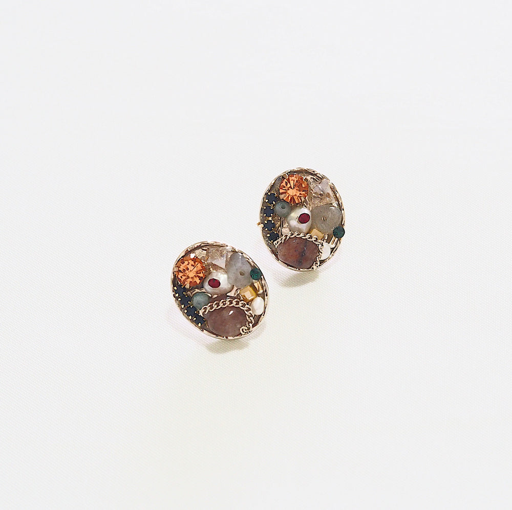 Celso Bejewelled Studded Earrings (925 Silver Stud)