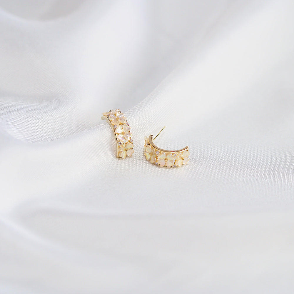 Elise Semi Hoop Earrings Ver. 1 (925 Silver Stud)