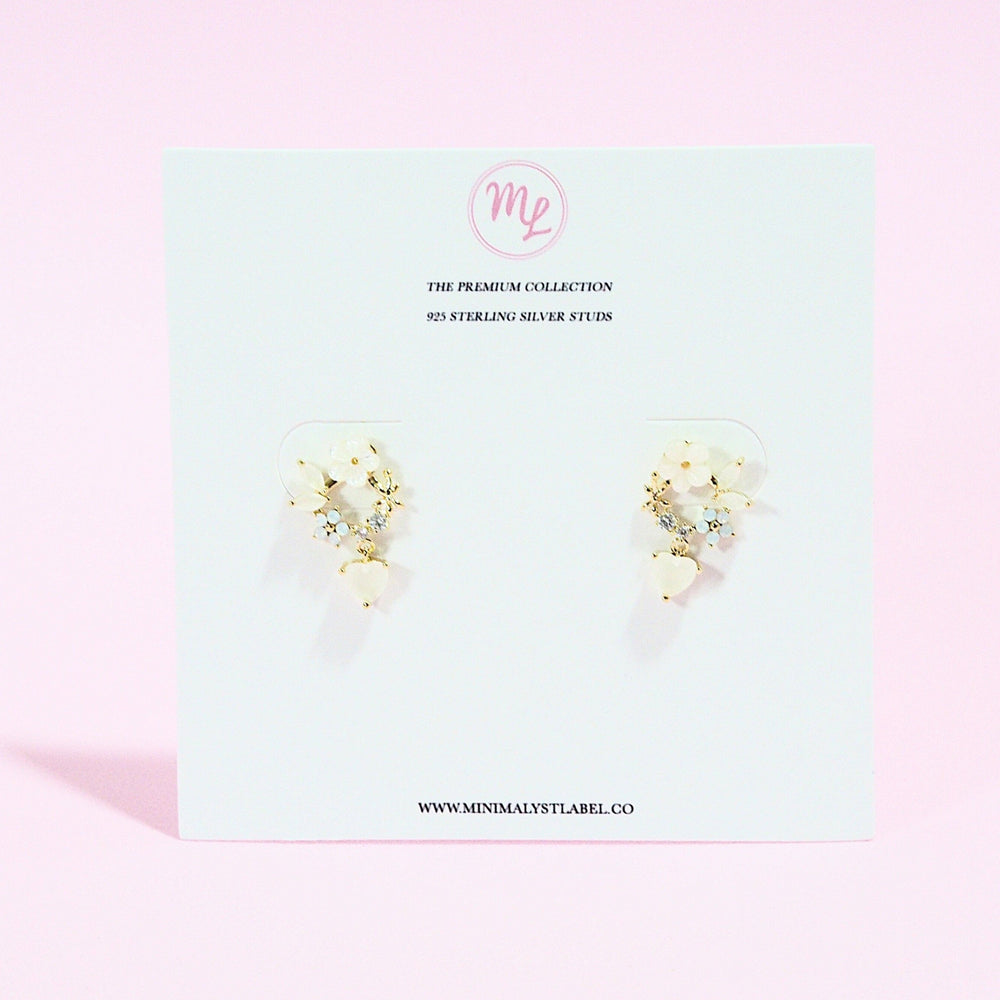 Crisantha Floral Studded Earrings (925 Silver Stud)