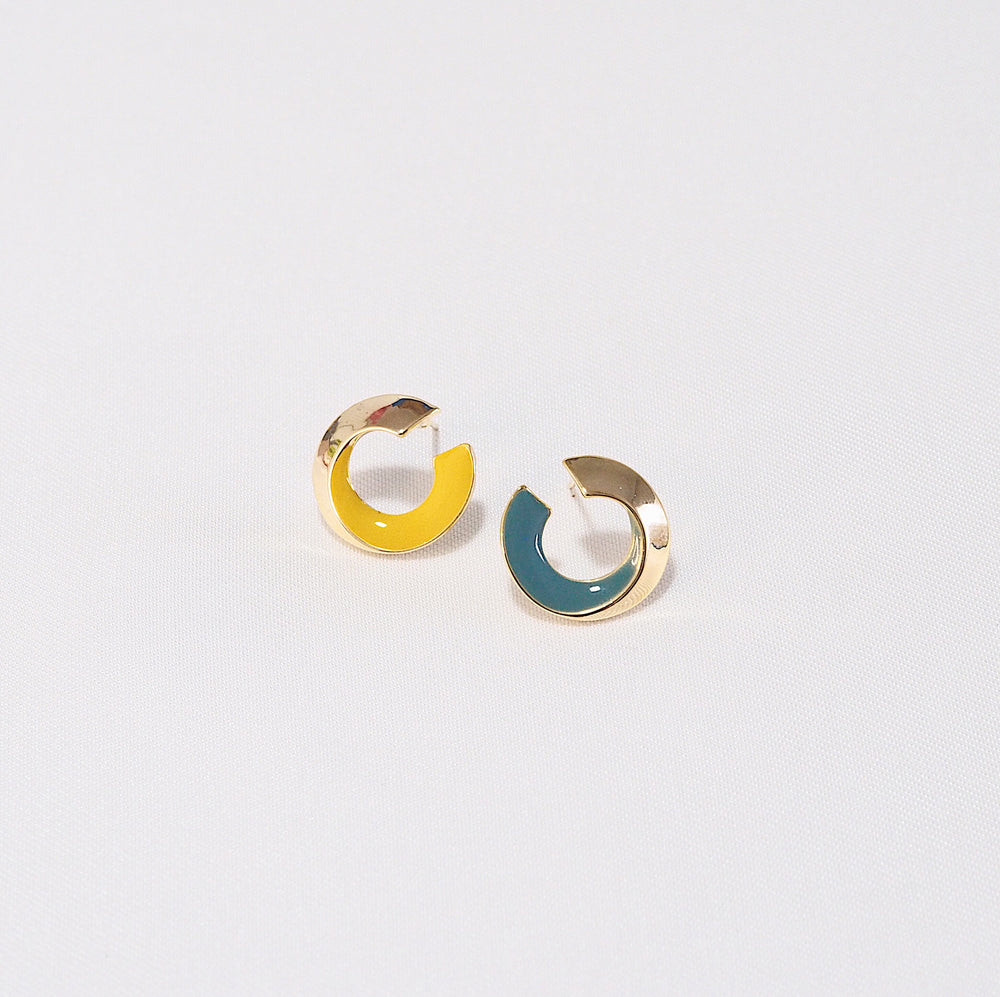 Eza Colourblock Earrings in COMBI 2 (925 Silver Stud)