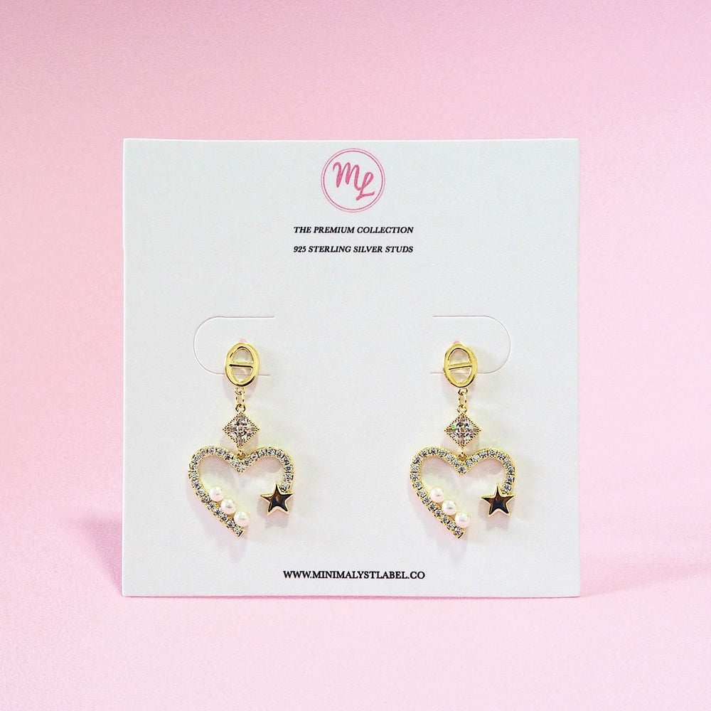 Beatrix Heart and Star Earrings (925 Silver Stud)