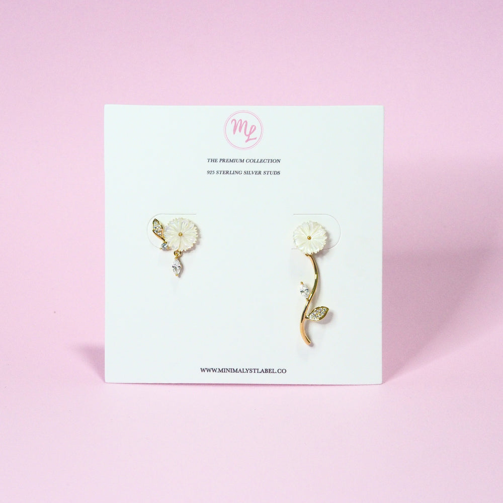 Lucille Floral Asymmetrical Earrings (925 Silver Stud)