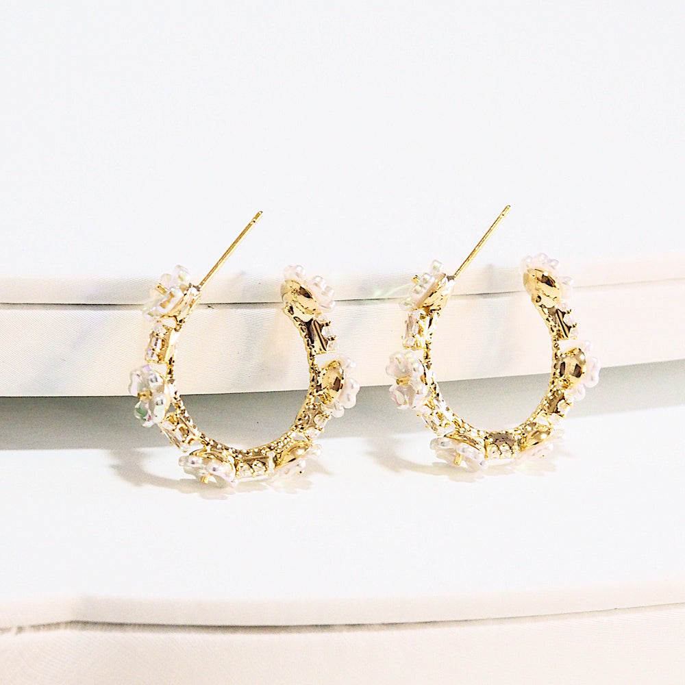Elise Floral Hoop Earrings Ver. 3 (925 Silver Stud)