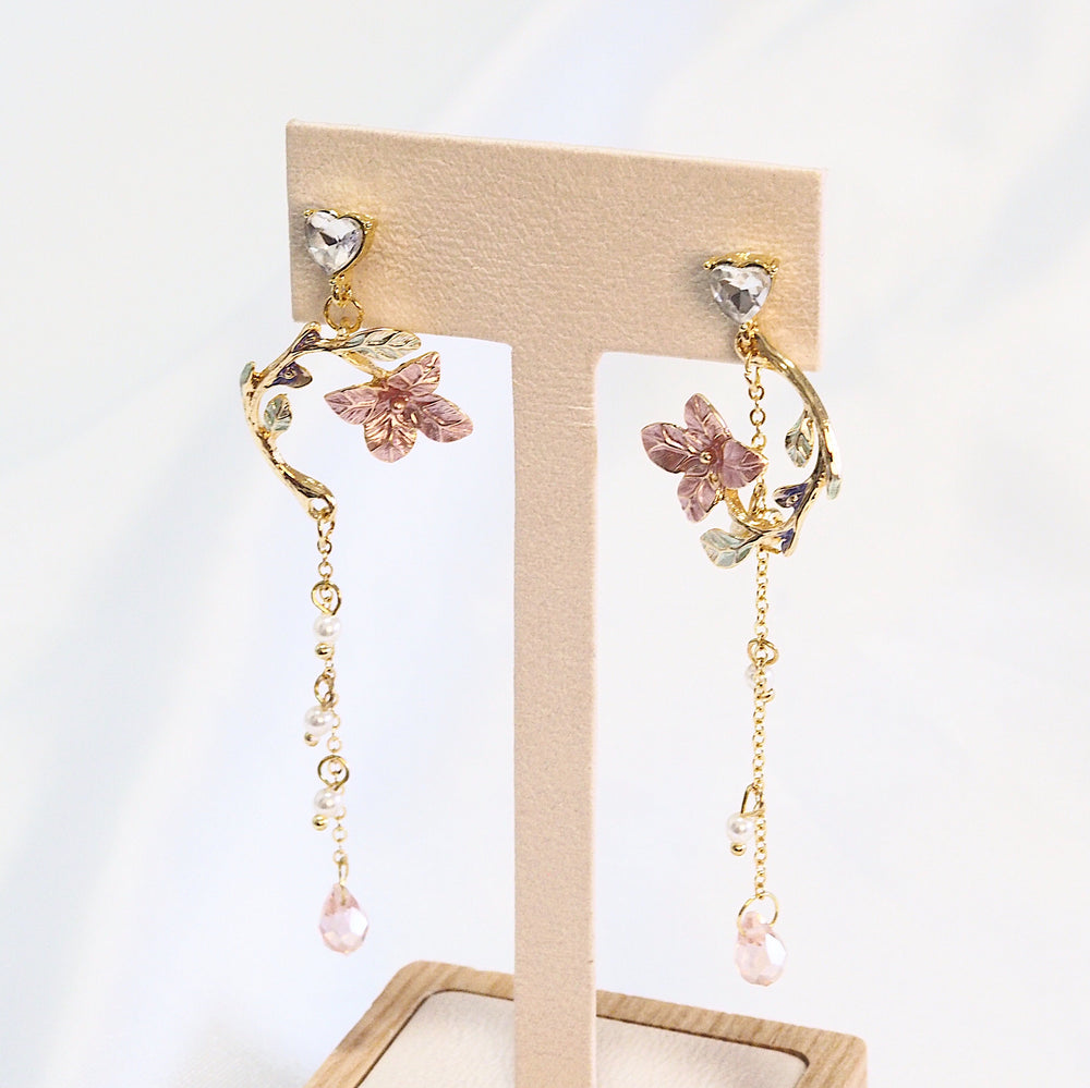 Freyla Floral Drop Earrings (925 Silver Stud)