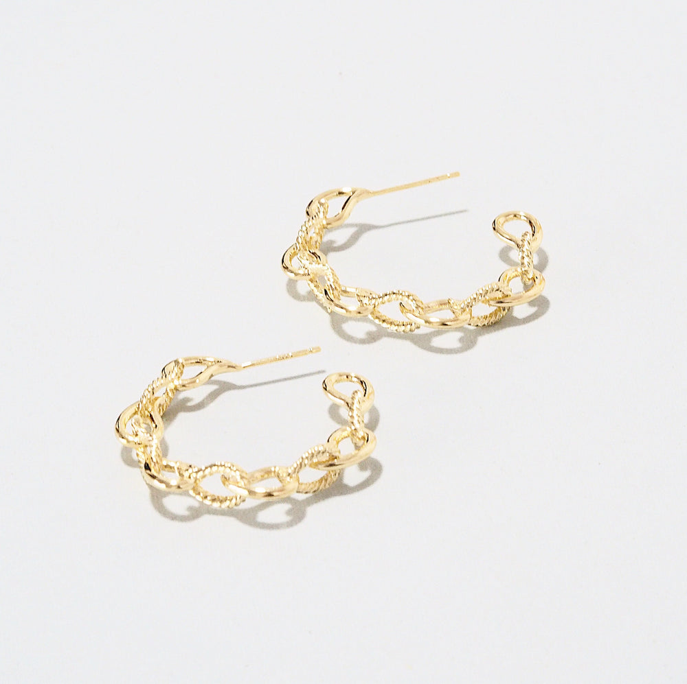 Fifer Chain Hoop Earrings (925 Silver Stud)
