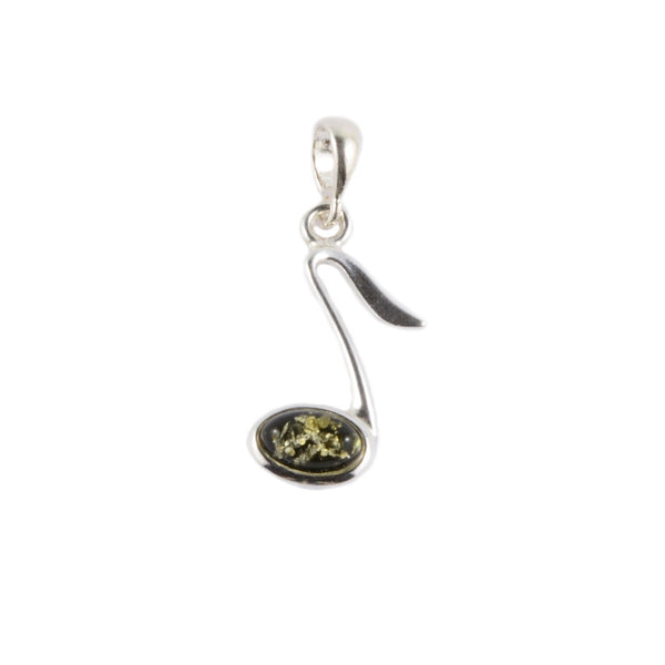Pendant - Small 8th Note - Green