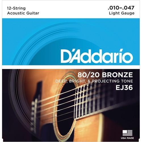D'Addario EJ36 Light 80/20 Bronze Acoustic Guitar Strings (12-String Set, 10 - 47)