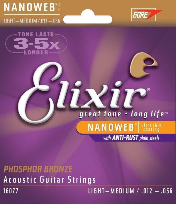 Elixir 16077 Nanoweb Phosphor Bronze Medium Light Acoustic Strings
