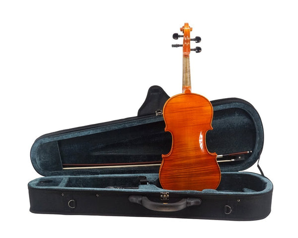 La Vista Model 100 Violin Outfit including case, bow and full-size violin, back view