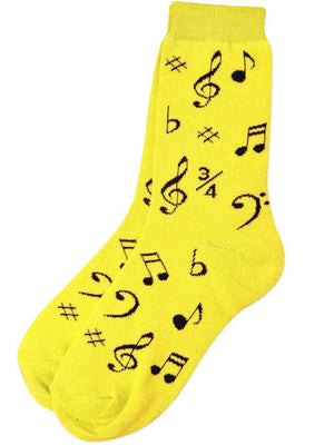 Socks - Yellow with Clefs and Notes