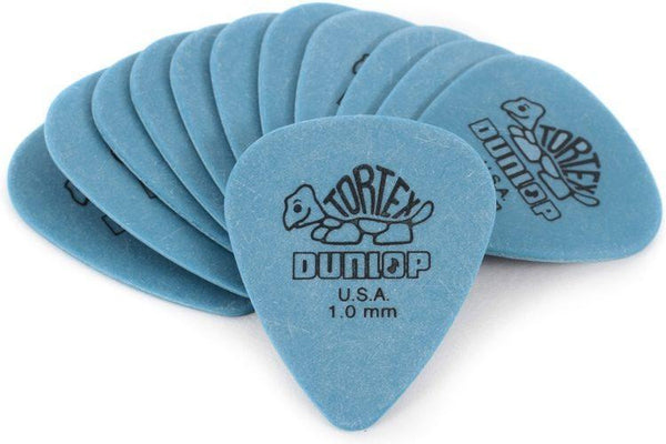 Dunlop 418P1.0 Tortex Standard 1.0mm Blue Guitar Picks, 12-Pack