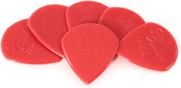 Dunlop 47P3N Nylon Jazz III Red Point Tip Guitar Picks, 6-Pack