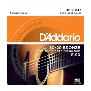 D'Addario EJ10 80/20 Bronze Acoustic Guitar Strings, Extra Light, 10-47
