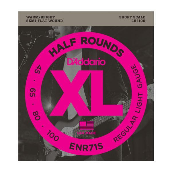 D'Addario ENR71S Half Rounds Bass, Regular Light, 45-100, Short Scale