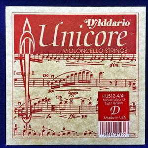 D'Addario Unicore Violoncello Strings HU512 4/4L - Nickel Wound - Light Tension