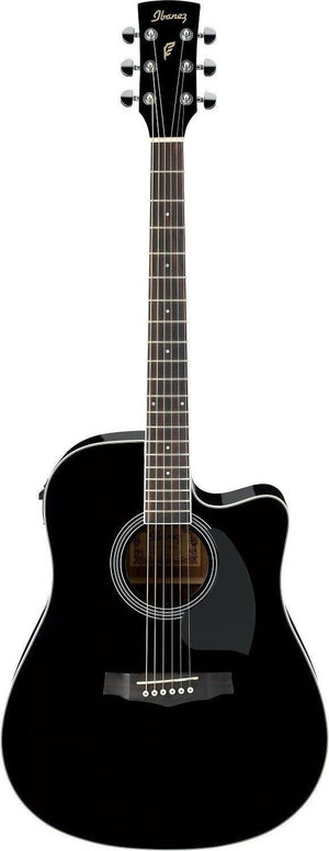 Ibanez PF15ECE-BK PF Series 6 String Acoustic Electric Guitar in Black High Gloss