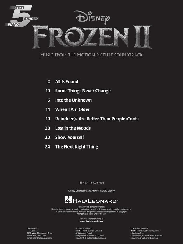 FROZEN 2 FIVE-FINGER PIANO SONGBOOK