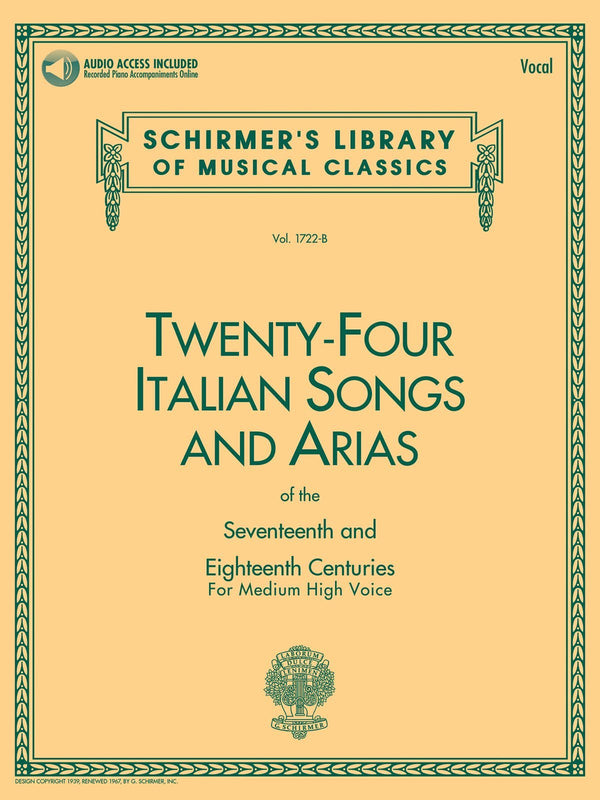 24 Italian Songs & Arias of the 17th & 18th Centuries (Medium High Voice)
