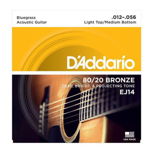 D'Addario EJ14 80/20 Bronze Acoustic Guitar Strings, Light Top/Medium Bottom/Bluegrass, 12-56