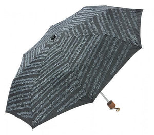 Umbrella With Mini Wood Handle - Black