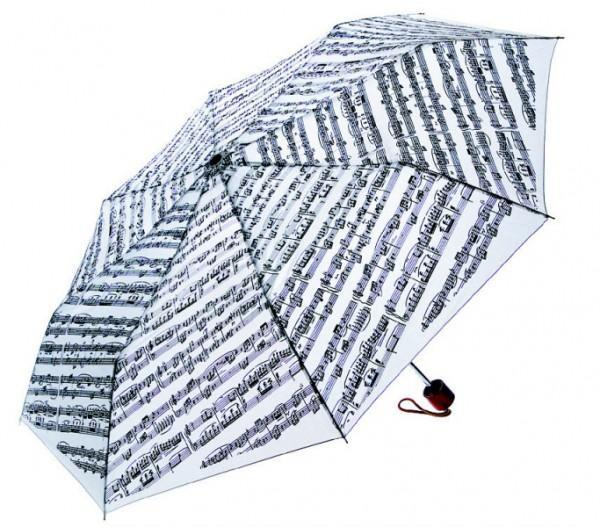 Umbrella with Mini Wood Handle - White