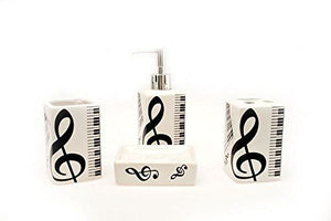 Music Themed Ceramic Bath Set (4-Piece)