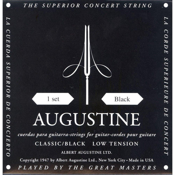 Augustine Classic Black Medium/Low Tension, Full Set of Classical Guitar Strings