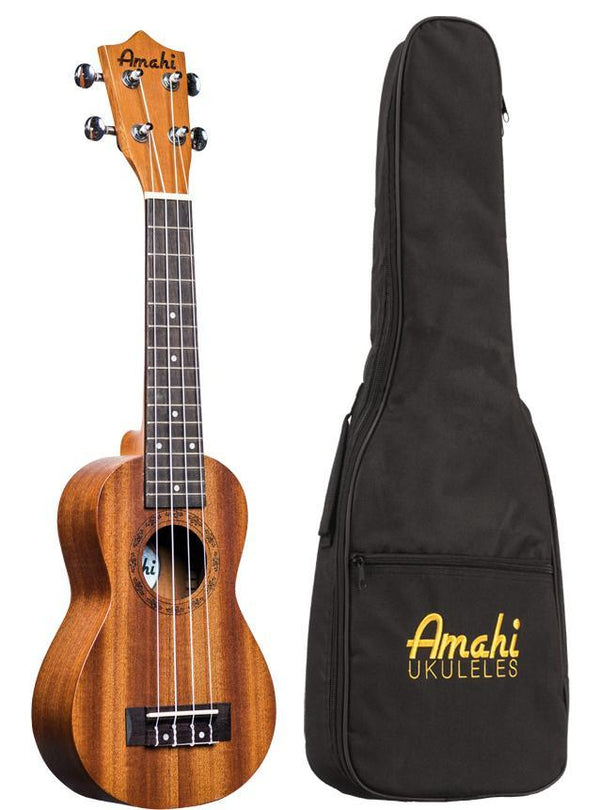 Amahi UK250 Peanut Mahogany Soprano Ukulele With Deluxe Bag