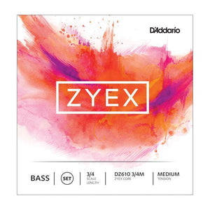 D'Addario Zyex Bass String Set, 3/4 Scale Single D String, Light Tension