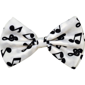 Bow Tie - White with Black Notes