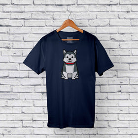 Cute Gray Husky Dog Blue T-Shirt Design Online