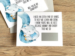 blue elephant godmother baptism card