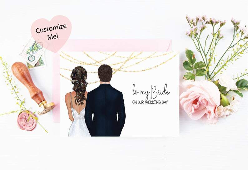 to my bride on our wedding day keepsake custom portrait card
