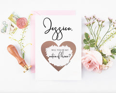 matron of honor modern classy rose gold heart scratch off